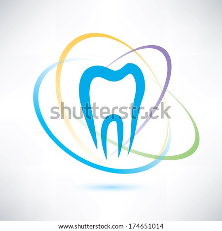 tooth protection abstract vector symbol - stock vector