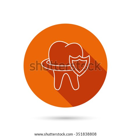 Tooth protection icon. Dental shield sign. Round orange web button with shadow. - stock vector