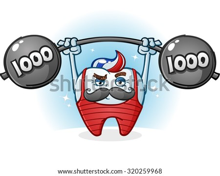 Tooth Retro Body Builder Cartoon Character with Mustache - stock vector