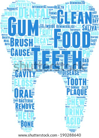 tooth shaped vector tag cloud illustration - dental care concept - stock vector