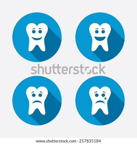 Tooth smile face icons. Happy, sad, cry signs. Happy smiley chat symbol. Sadness depression and crying signs. Circle concept web buttons. Vector - stock vector