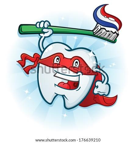 Tooth Super Hero Dental Mascot Cartoon - stock vector