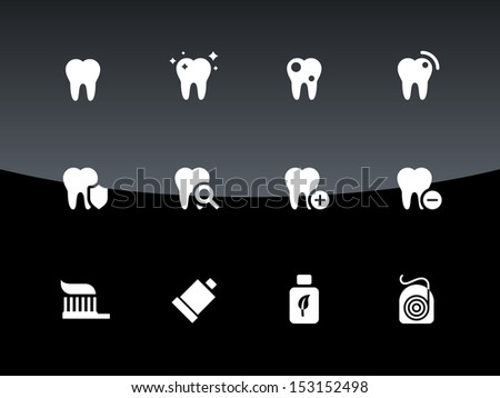 Tooth, teeth icons on black background. Vector illustration. - stock vector