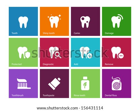 Tooth, teeth icons on color background. Vector illustration. - stock vector