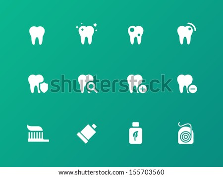 Tooth, teeth icons on green background. Vector illustration. - stock vector