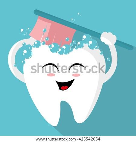 Tooth with a toothbrush, smiling - stock vector
