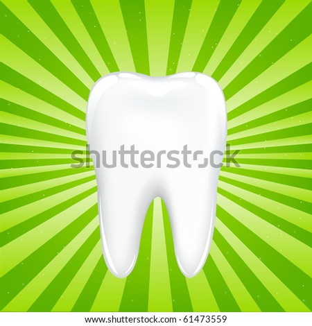 Tooth With Beams, On Green Background With Beams, Vector Illustration - stock vector