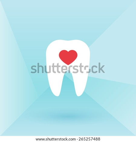 Tooth with heart. Low poly background - stock vector