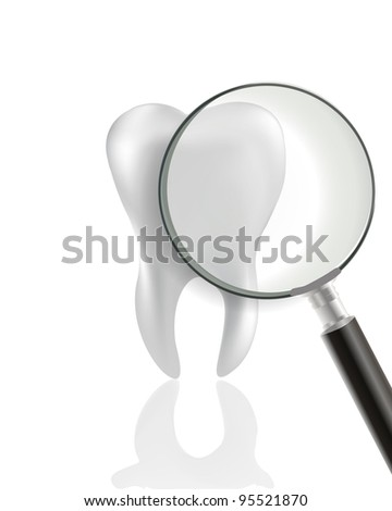 Tooth With Magnifying glass - stock vector