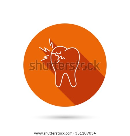 Toothache icon. Dental healthcare sign. Round orange web button with shadow. - stock vector