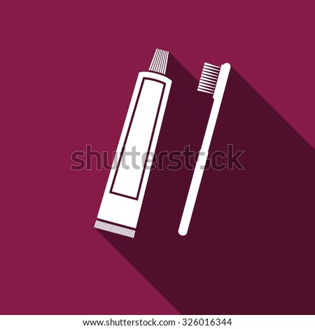 Toothbrush and toothpaste flat icon with long shadow. Vector Illustration - stock vector