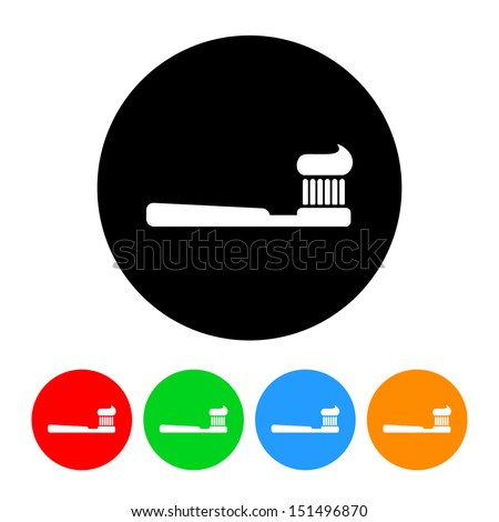Toothbrush and Toothpaste Icon - stock vector