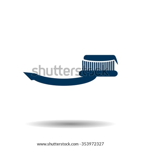 Toothbrush and Toothpaste icon, vector illustration. Flat design style