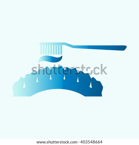 Toothbrush and toothpaste set. Vector with tooth