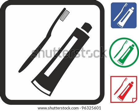 Toothbrush and toothpaste vector icon - stock vector
