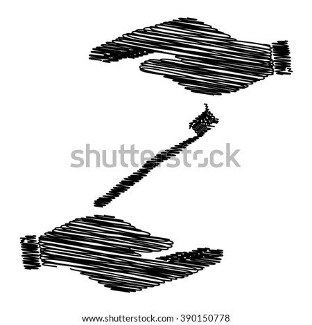 Toothbrush with applied toothpaste portion. Save or protect symbol by hands with scribble effect. - stock vector
