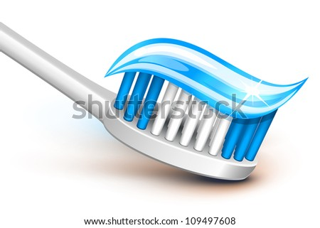 Toothbrush with blue gel toothpaste - stock vector