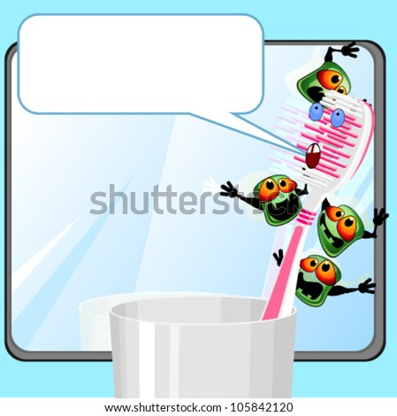Toothbrush with germs - stock vector