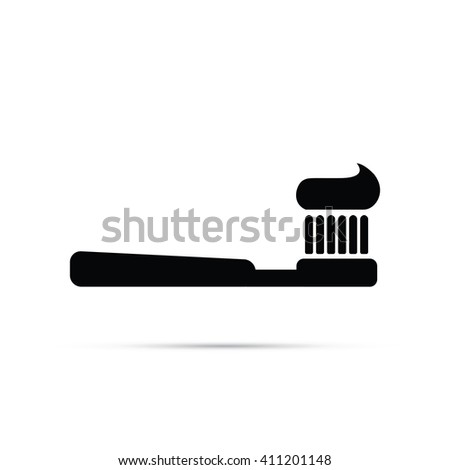 Toothbrush with Toothpaste Icon - stock vector