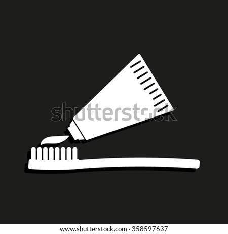 Toothbrush with toothpaste -  vector icon with shadow