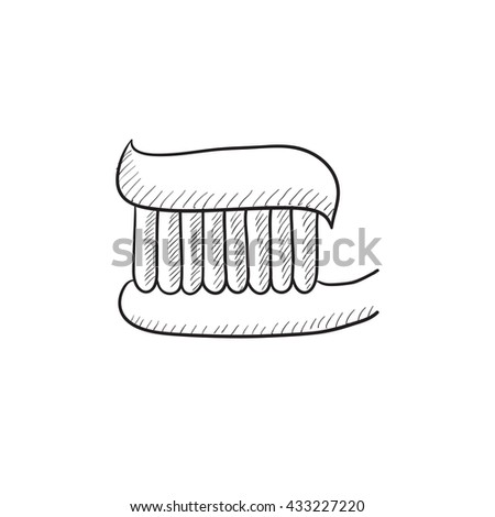 Toothbrush with toothpaste vector sketch icon isolated on background. Hand drawn Toothbrush with toothpaste icon. Toothbrush with toothpaste sketch icon for infographic, website or app. - stock vector