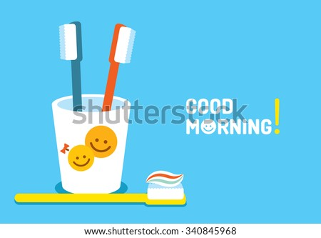 Toothbrushes in plastic glass with fun smiles on blue background. Good morning - stock vector