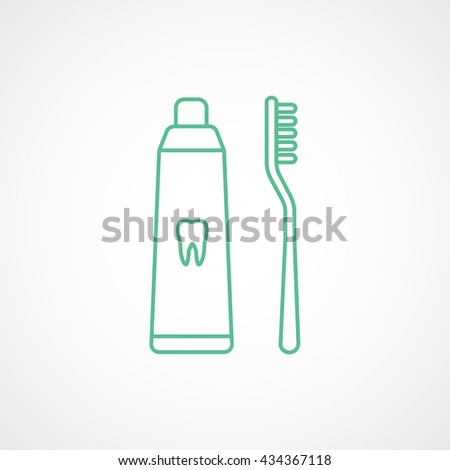 Toothpaste and Tooth Brush Green Line Icon On White Background - stock vector