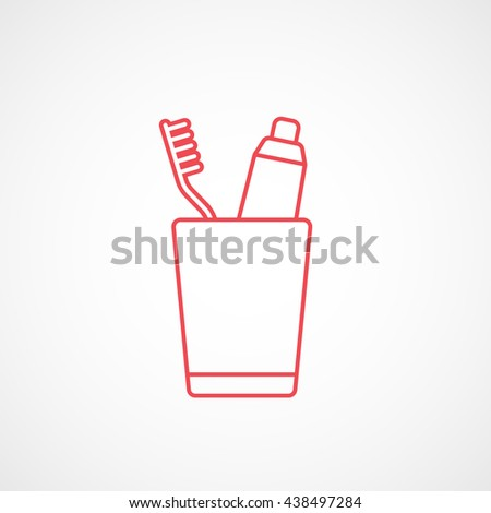 Toothpaste and Tooth Brush In Cup Red Line Icon On White Background - stock vector