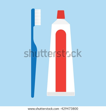 toothpaste and tooth brushes isolated on blue background - stock vector
