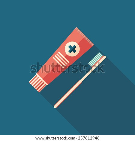 Toothpaste and toothbrush flat square icon with long shadows.  - stock vector