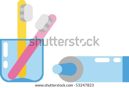 toothpaste and toothbrushes - stock vector