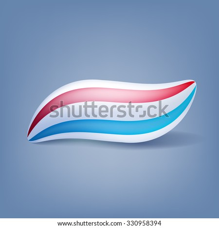 Toothpaste blot blob isolated vector illustration. Red and blue mint stripes. - stock vector