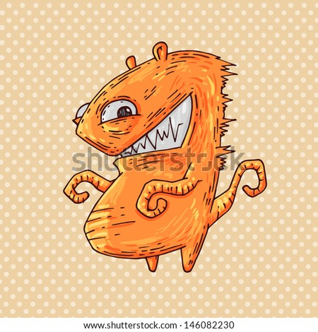 toothy monster - stock vector