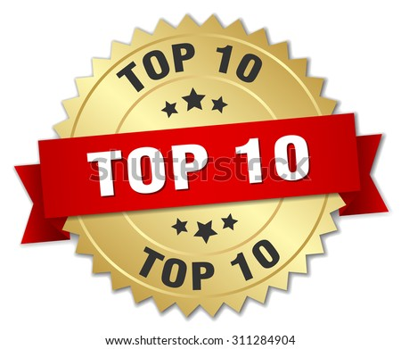 top 10 3d gold badge with red ribbon - stock vector