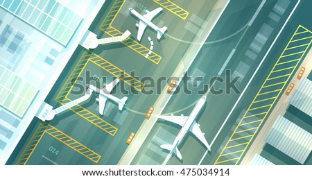 Top down view of an airport terminal and runways. Vector illustration of a big busy airport. White planes, dynamic composition, depth light effects. Nice clean and detailed image.