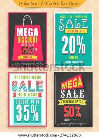 Top Fashion Brand Sale with mega discount offer, Collection of Posters, Banners or Flyers design. - stock vector