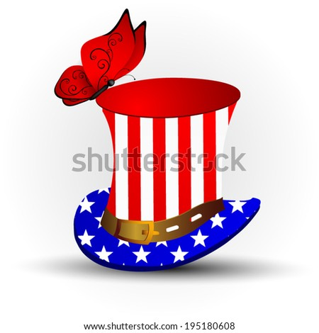 Top hat for independence day - stock vector
