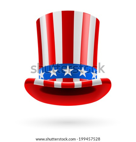Top hat made of United States flag. Uncle Sam hat. - stock vector