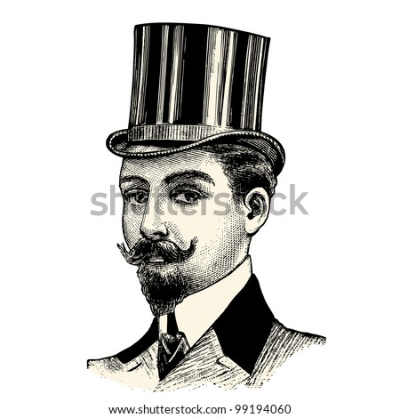 Top hat - vintage engraved illustration - Catalog of a French department store - Paris 1909 - stock vector