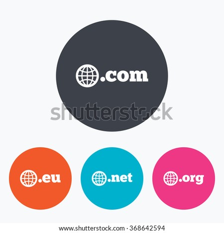 Top-level internet domain icons. Com, Eu, Net and Org symbols with globe. Unique DNS names. Circle flat buttons with icon. - stock vector