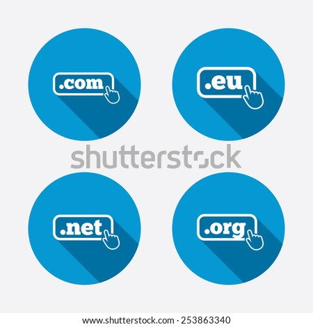 Top-level internet domain icons. Com, Eu, Net and Org symbols with hand pointer. Unique DNS names. Circle concept web buttons. Vector - stock vector