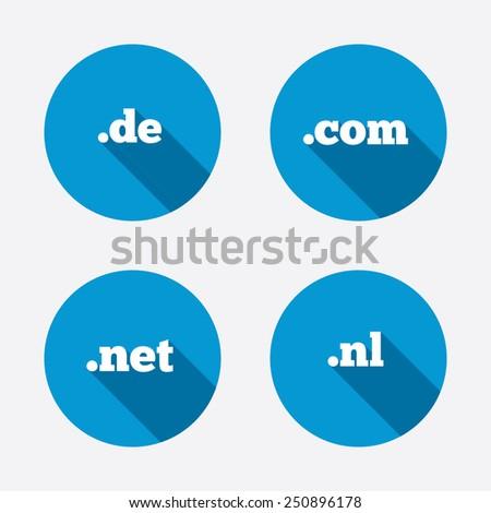 Top-level internet domain icons. De, Com, Net and Nl symbols. Unique national DNS names. Circle concept web buttons. Vector - stock vector