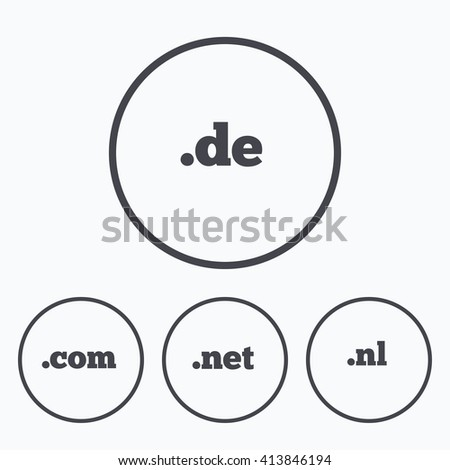 Top-level internet domain icons. De, Com, Net and Nl symbols. Unique national DNS names. Icons in circles. - stock vector