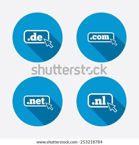 Top-level internet domain icons. De, Com, Net and Nl symbols with cursor pointer. Unique national DNS names. Circle concept web buttons. Vector - stock vector