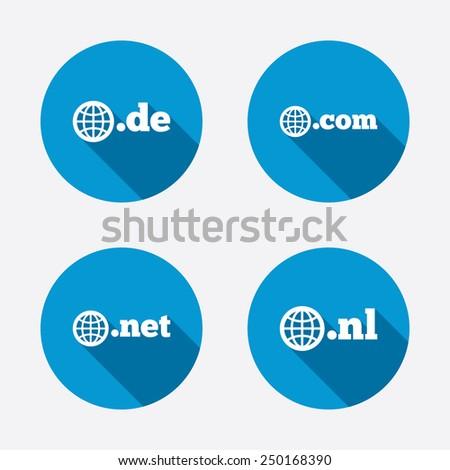 Top-level internet domain icons. De, Com, Net and Nl symbols with globe. Unique national DNS names. Circle concept web buttons. Vector - stock vector