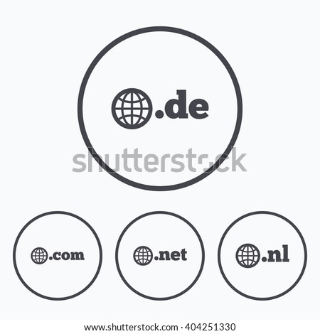 Top-level internet domain icons. De, Com, Net and Nl symbols with globe. Unique national DNS names. Icons in circles. - stock vector