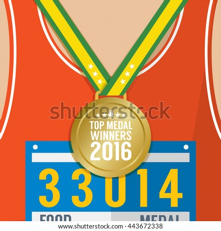 Top Medal Winner 2016 Sport Competition Concept Vector Illustration