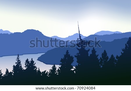 Top of the Malahat. West coast vector landscape - stock vector