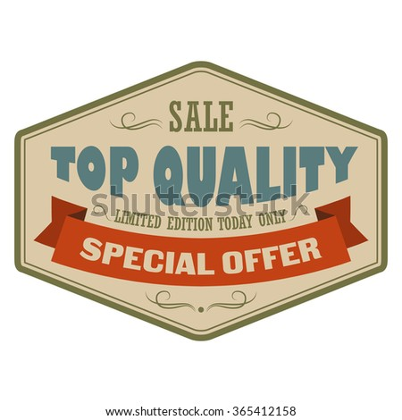 Top quality sale vintage banner. Retro label with brown ribbon on a white background - stock vector