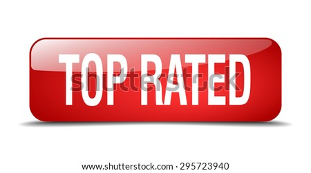 top rated red square 3d realistic isolated web button - stock vector